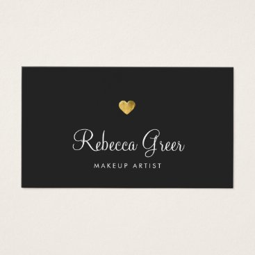 Valentines Themed Cute Gold Heart Black Beauty Consultant Business Card