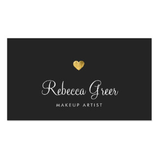 Cute Gold Heart Black Beauty Consultant Double-Sided Standard Business Cards (Pack Of 100)