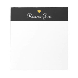 Cute Gold Heart Black Beauty Consultant Notepad