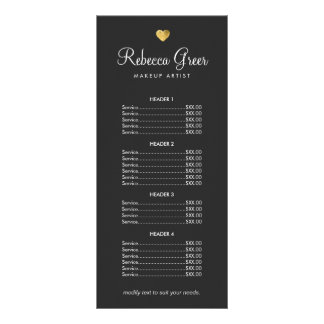 Cute Gold Heart Black Beauty Salon Price List Menu