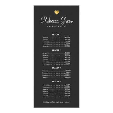 Valentines Themed Cute Gold Heart Black Beauty Salon Price List Menu