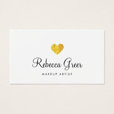 sm_business_cards Cute Gold Heart Modern Beauty Consultant White Business Card
