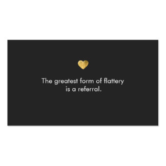 Cute Gold Heart Referral Card Double-Sided Standard Business Cards (Pack Of 100)