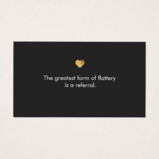 Cute Gold Heart Salon Referral Card