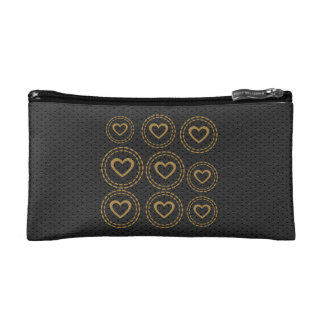 Cute Gold Hearts Black Leather Look Bag