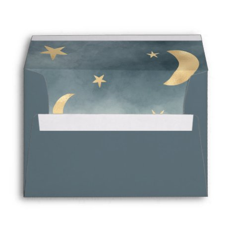 Cute gold moon stars blue watercolor baby shower envelope