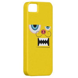 Cute Gold Mustache Monster Emoticon iPhone 5 Case