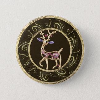 Cute Gold Reindeer Jewel Photo Print Button