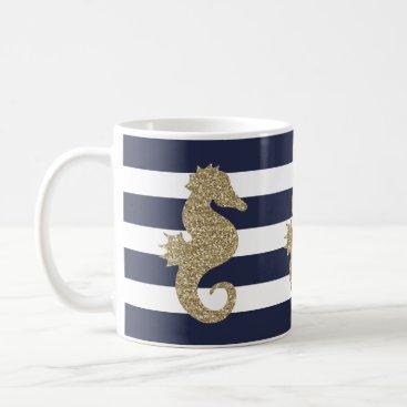 Coffee Themed Cute Gold Seahorse on Navy/White Stripe Coffee Mug