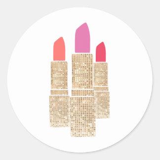 Cute Gold Sequin Lipstick Makeup Artist Beauty Classic Round Sticker