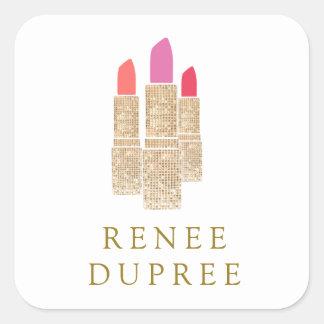 Cute Gold Sequin Lipstick Makeup Artist Beauty Square Sticker