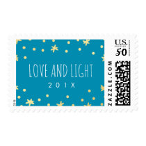 Cute Gold Stars   Blue Postage Stamp | Hanukkah