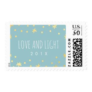 Cute Gold Stars + Mint Postage Stamp | Hanukkah at Zazzle