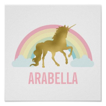 Toddler & Baby themed Cute Gold Unicorn Girl's Room Poster