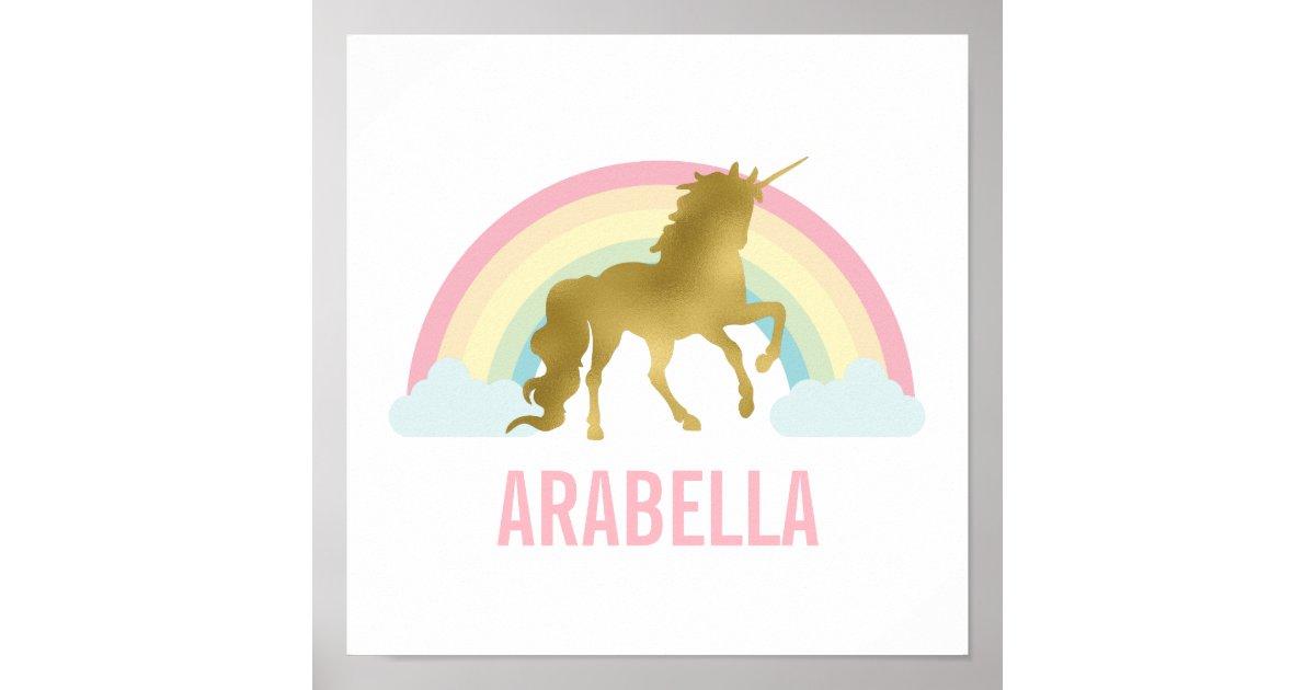Cute Gold Unicorn Girl S Room Poster Zazzle Com
