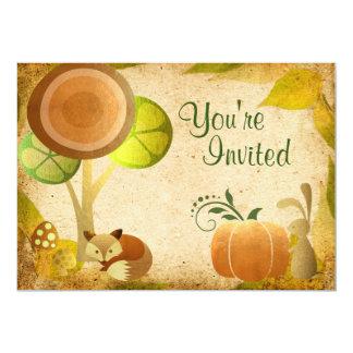 Cute Golden Autumn Woodland Animals Birthday Party 5x7 Paper Invitation Card