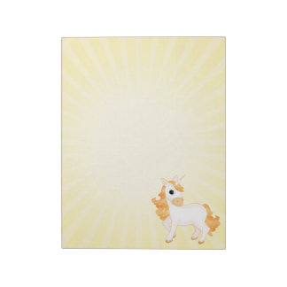 Cute Golden Cartoon Unicorn Large Notepads