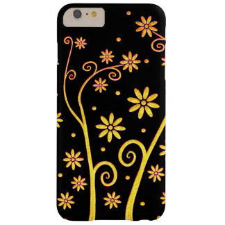 Cute golden flowers on black background barely there iPhone 6 plus case