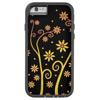 Cute golden flowers on black background tough xtreme iPhone 6 case