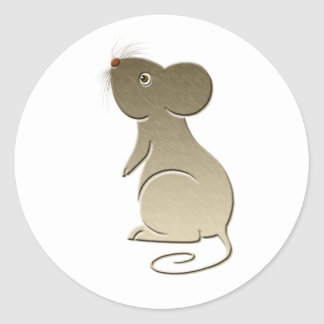 Cute Golden Mouse Classic Round Sticker
