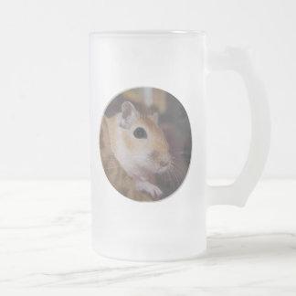 Cute Golden Pet Gerbil Drinks Glass Frosted Glass Beer Mug
