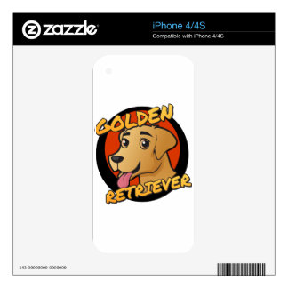 Cute Golden Retriever Cartoon Skin For The iPhone 4