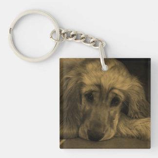Cute Golden Retriever Dog Laying Down Acrylic Keychain