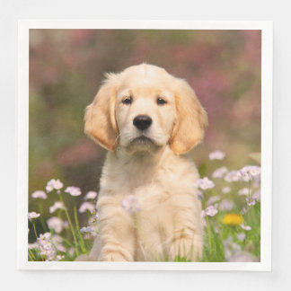 Cute Golden Retriever Dog Puppy Face Animal Photo Paper Dinner Napkin