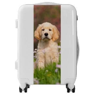 Cute Golden Retriever Dog Puppy Photo - Suitcase Luggage