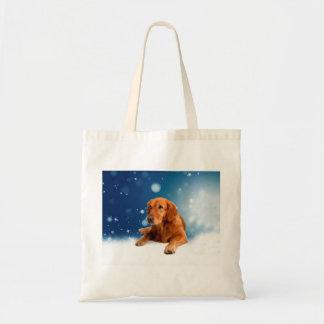 Cute Golden Retriever Dog Sitting in Snow Stars Tote Bag