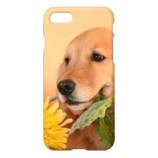 Cute Golden Retriever Dog With Yellow Flower iPhone 7 Case