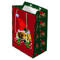 Cute Golden Retriever Puppy Christmas Medium Gift Bag