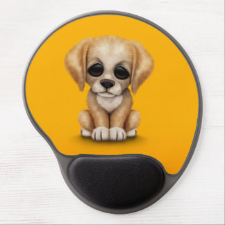 Cute Golden Retriever Puppy Dog on Yellow Gel Mouse Pad