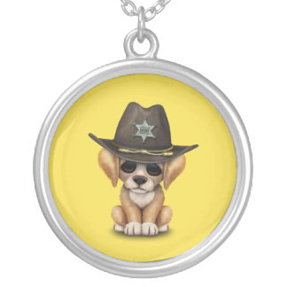 Cute Golden Retriever Puppy Dog Sheriff Silver Plated Necklace