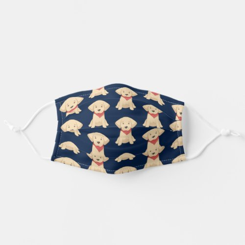 Cute Golden Retriever Puppy Red Scarf Navy Blue Cloth Face Mask