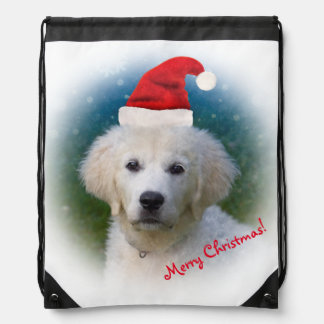 Cute Golden Retriever Puppy Wearing Santa Hat Drawstring Backpack