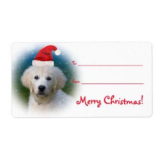 Cute Golden Retriever Puppy Wearing Santa Hat Label