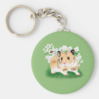 Cute golden Syrian Hamster art gifts accessories Keychain