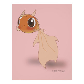 Cute Goldfish Funny Anime Cartoon Character Poster