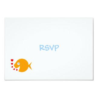 Cute Goldfish & Hearts Beach Wedding RSVP Card