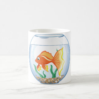 Cute goldfish im glass coffee mug