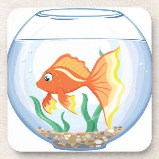 Cute goldfish im glass drink coaster