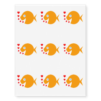 Cute Goldfish Love Kids Temporary Tattoo