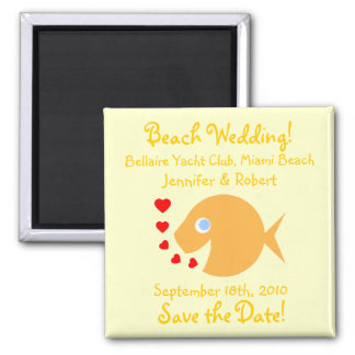 Cute Goldfish Save The Date Beach Wedding 2 Inch Square Magnet