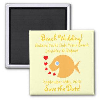 Cute Goldfish Save The Date Beach Wedding Magnet