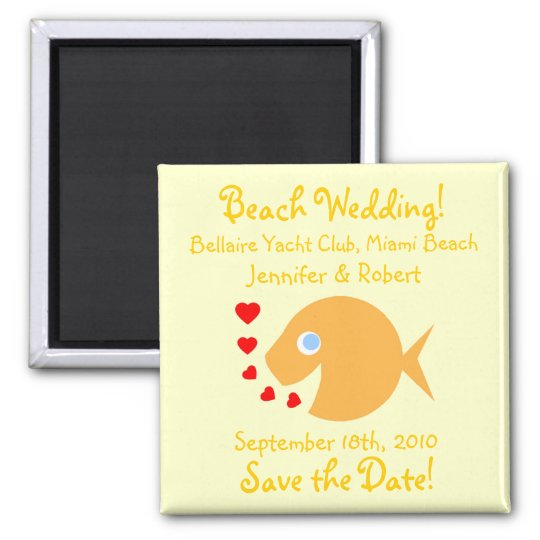 Cute Goldfish Save The Date Beach Wedding Magnet