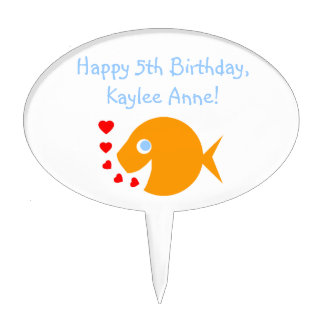 Cute Goldfish w/Hearts Cartoon Birthday Cake Pick