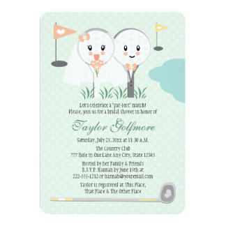 Cute Golf Ball and Tee Bride Groom Bridal Shower Card