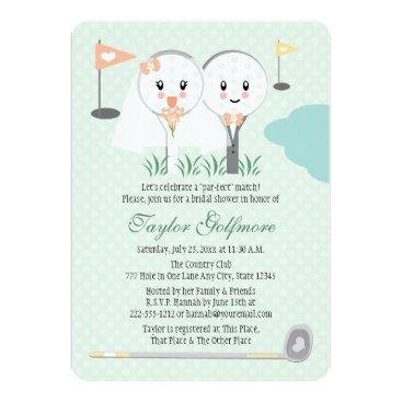 Bride Themed Cute Golf Ball and Tee Bride Groom Bridal Shower Card