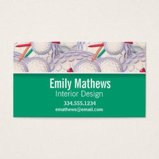 Cute Golf Balls & Tees Pattern Business Card